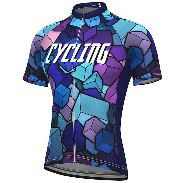 21Grams Men's Short Sleeve Cycling Jersey Summer Spandex Polyester Blue Rainbow Bike Jersey Top Mountain Bike MTB Road Bike Cycling Quick Dry Moisture Wicking Breathable Sports Clothing Apparel