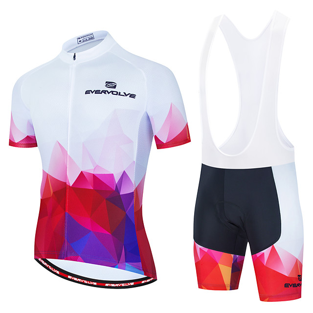 Men's Short Sleeve Cycling Jersey with Shorts Red and White Bike Breathable Sports Geometic Clothing Apparel / Micro-elastic / Athleisure
