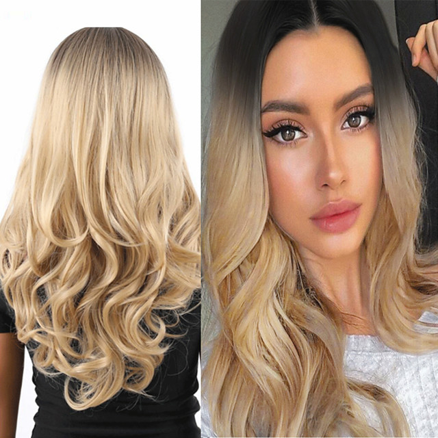Synthetic Wig Deep Wave Middle Part Wig Medium Length A15 A16 A17 A18 A19 Synthetic Hair Women's Cosplay Party Fashion Blonde