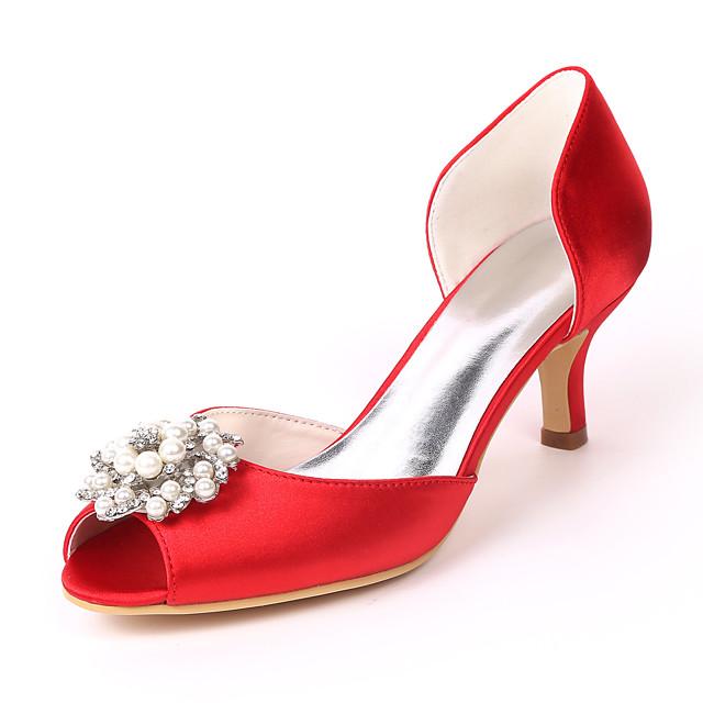 Women's Wedding Shoes Kitten Heel Peep Toe Wedding Sandals Satin Rhinestone Pearl Solid Colored White Purple Red