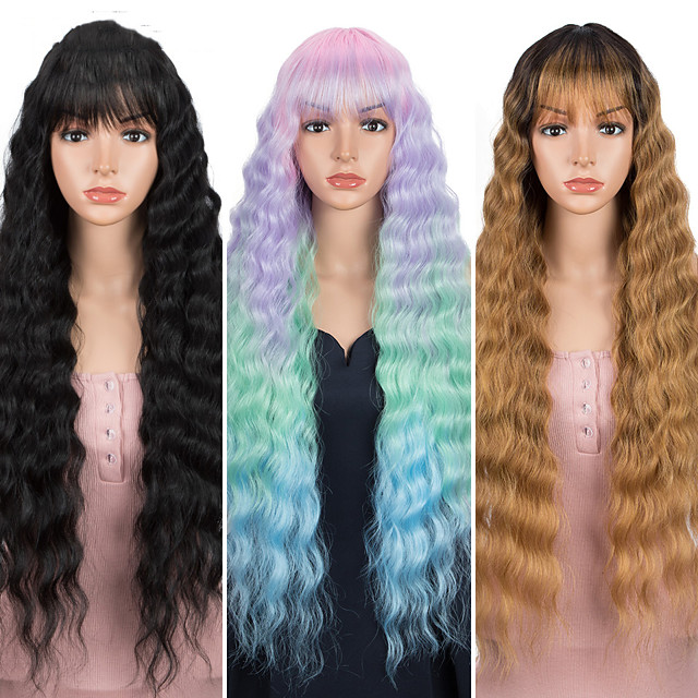 Loose Wave Fake Hair Cosplay Wig Nature Hair 30 Inch Ombre Brown Heat Resistant Long Synthetic Wigs For Black Women