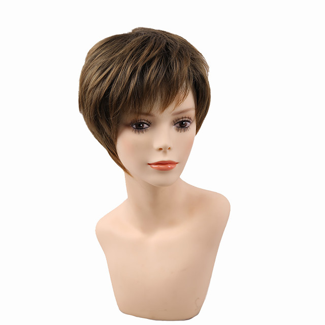Short Female Haircut Puffy Straight Natural Short Synthetic Hair Wigs For American Africa Women