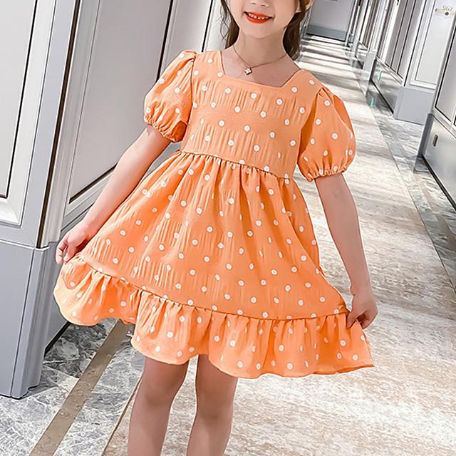 Kids Little Girls' Dress Polka Dot Festival Purple Orange Knee-length Short Sleeve Sweet Dresses Children's Day Summer Regular Fit 3-13 Years