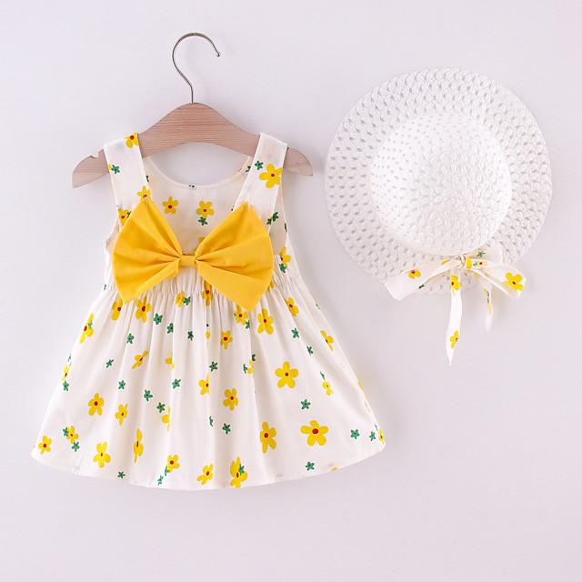 Toddler Little Girls' Dress Floral Print Yellow Blushing Pink Orange Knee-length Sleeveless Regular Dresses Summer Loose 1-4 Years
