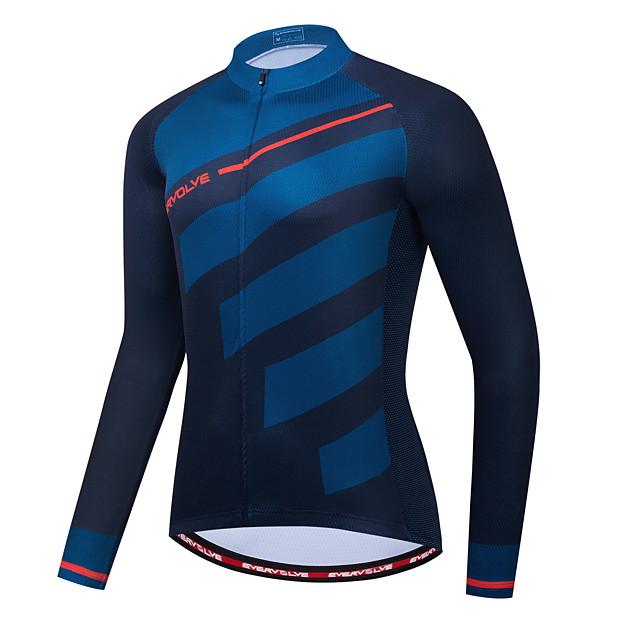 Men's Long Sleeve Cycling Jersey Dark Navy Bike Jersey Back Pocket Sports Clothing Apparel / Micro-elastic / Athleisure