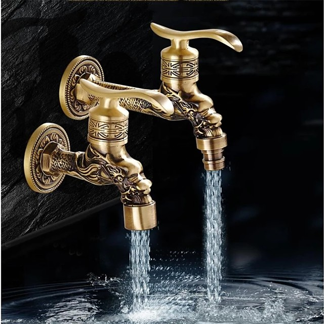 Wall Mount Antique Brass Faucet, Garden Outdoor Decorative Hose 1/2 inch Connection Spigot Carving Desigh with Cold Water Only