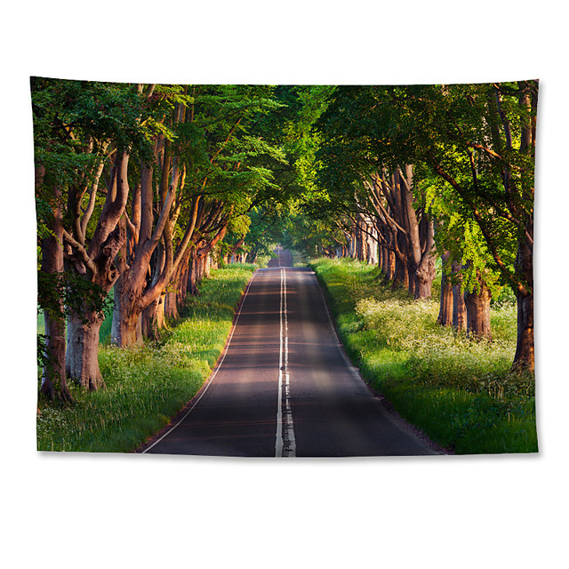 Wall Tapestry Art Decor Blanket Curtain Hanging Home Bedroom Living Room  Polyester  Road Tree