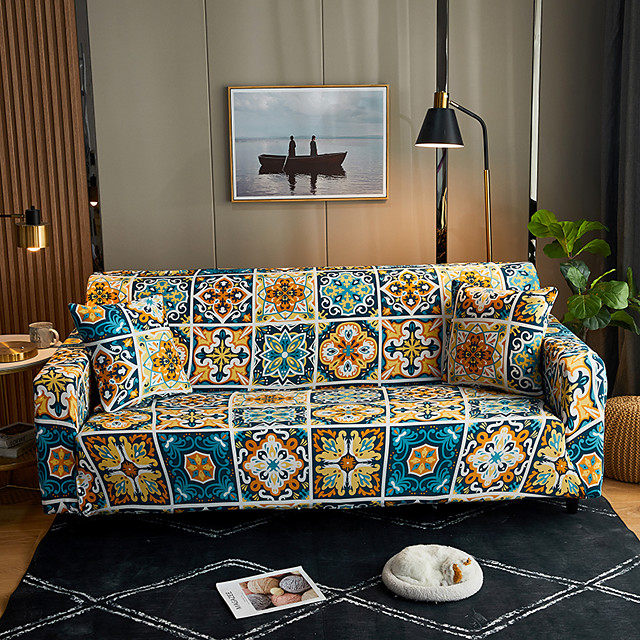 Geometric Lines Print Dustproof Stretch Slipcovers Stretch Recliner Sofa Cover For Living Room Pet