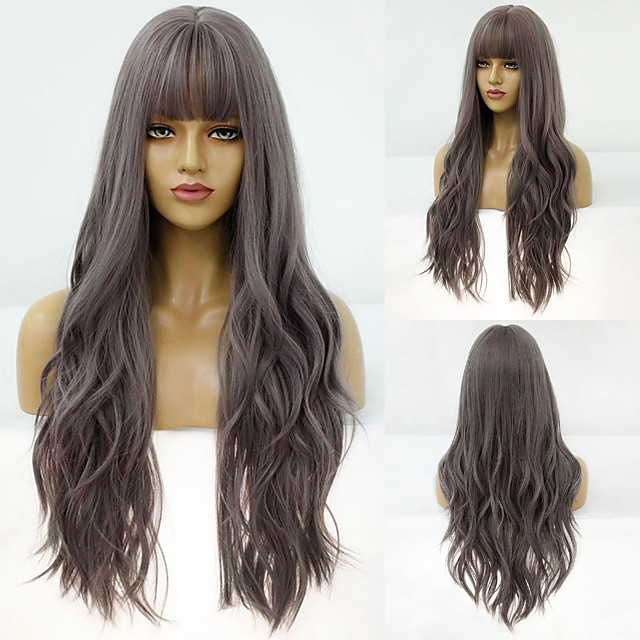 Synthetic Wig Deep Wave Neat Bang Wig Medium Length A1 A2 Synthetic Hair Women's Cosplay Party Fashion Burgundy