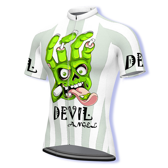 21Grams Men's Short Sleeve Cycling Jersey Summer Spandex Polyester White Bike Jersey Top Mountain Bike MTB Road Bike Cycling Quick Dry Moisture Wicking Breathable Sports Clothing Apparel / Athleisure