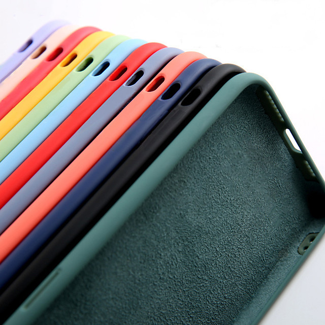 Liquid Silicone Soft Slim Protective Case for iPhone 12 Pro Max 11 Pro Max X XR XS Max / Samsung Galaxy S21 Ultra S21 Plus S20 Plus A51 A71 Note 20 Case (With Soft Microfiber Lining)