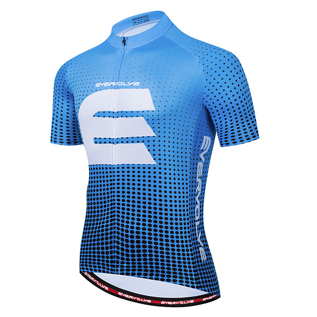 Men's Short Sleeve Cycling Jersey Summer Navy Red Black Bike Top Back Pocket Sports Clothing Apparel / Micro-elastic / Athleisure