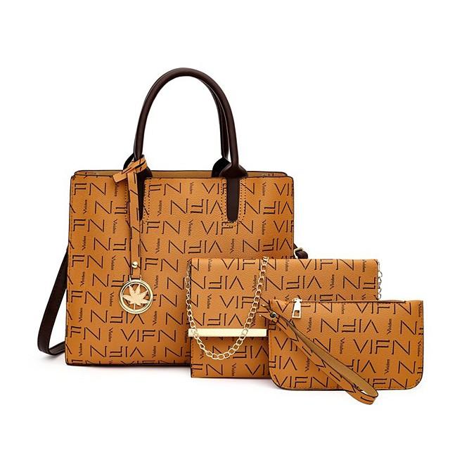 Women's Bags Bag Set Date Office & Career Bag Sets 2021 Handbags Black Blushing Pink Brown Coffee