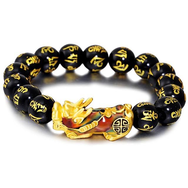 Bead Bracelet Bracelet Beads Ball Natural Stone Bracelet Jewelry Black / Red / Green For Sport Gift