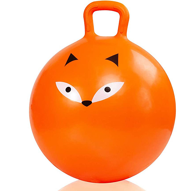 18 Inch Bouncy Ball with Handle for Kids, Bouncing Ball Hopper for Ages 3-9, Jumping Kangaroo Bouncer, Ride on Hippity Hop, Sit and Bounce Hoppy Fox