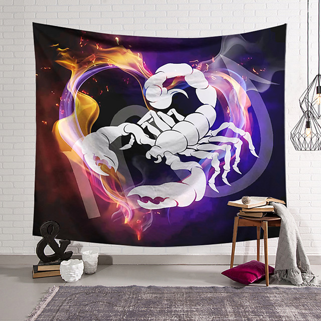 Wall Tapestry Art Decor Blanket Curtain Hanging Home Bedroom Living Room Colourful Polyester Scorpion