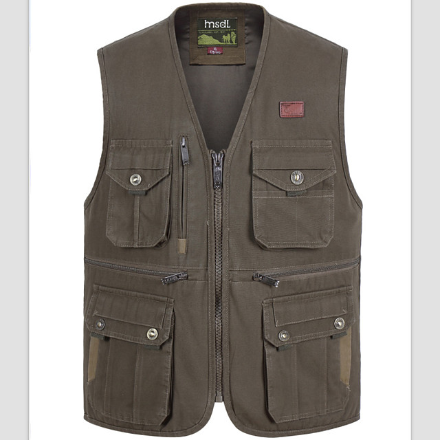 Men's Fishing Vest Outdoor Multi-Pockets Quick Dry Lightweight Breathable Vest / Gilet Autumn / Fall Spring Fishing Photography Camping & Hiking White Army Green Dark Green / Cotton / Sleeveless