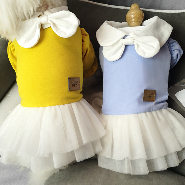 Dog Cat Dress Bowknot Lace Elegant Cute Sweet Dailywear Casual / Daily Dog Clothes Puppy Clothes Dog Outfits Breathable Yellow Orange Costume for Girl and Boy Dog Cotton XS S M L XL XXL