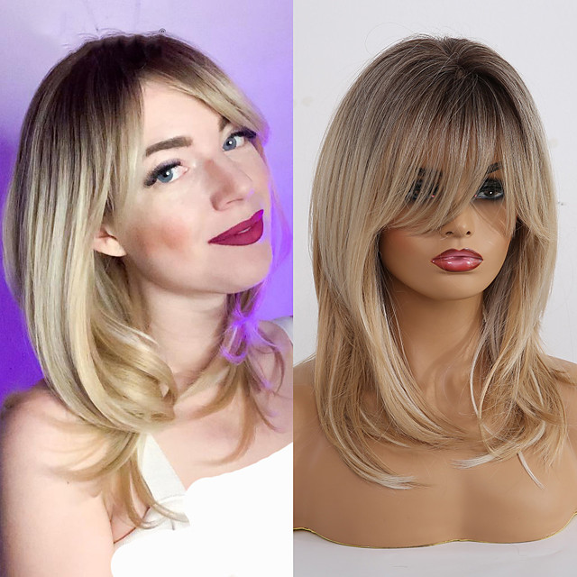 Synthetic Wigs for Women Ombre Brown Blonde Wigs with Bangs Layered Cosplay Wigs Heat Resistant Medium Length Wig