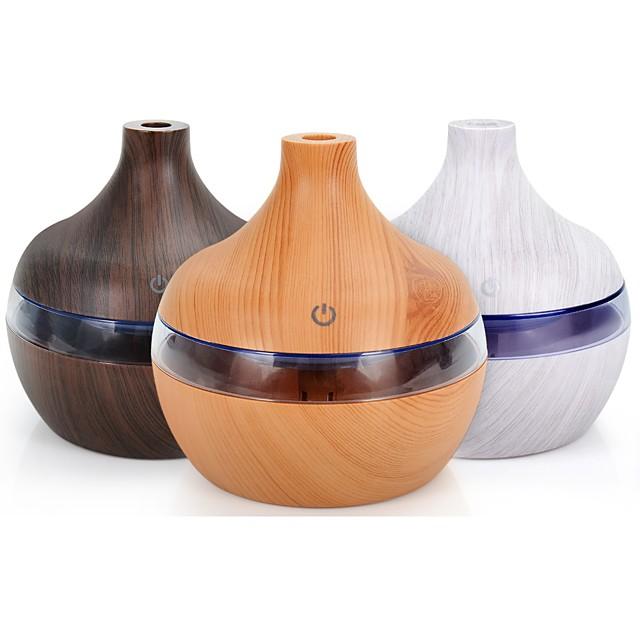 300ml usb ar umidificador difusor de aroma elétrico névoa grão de madeira óleo aromaterapia mini tem 7 luz led para escritório doméstico do carro
