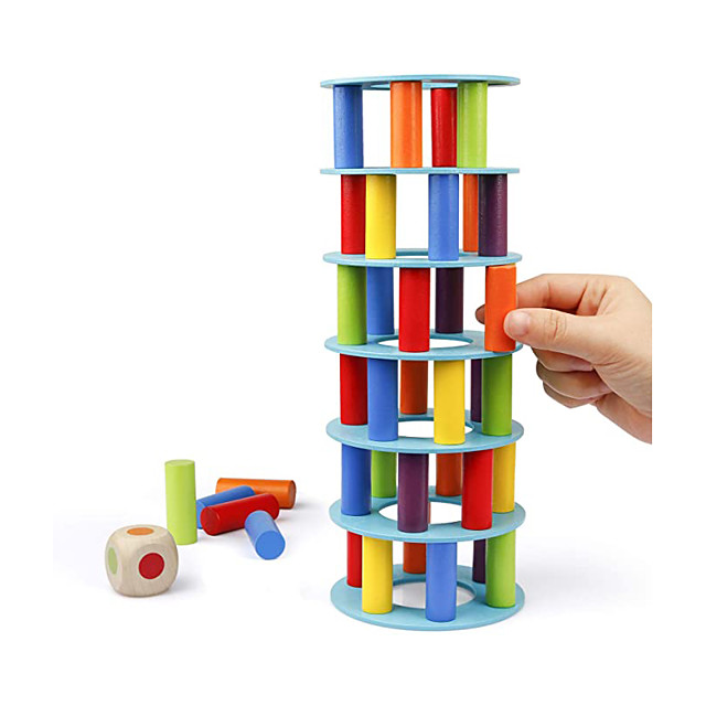 Wooden Tower Stacking Game, Fine Motor Skill Building Blocks with Dice Toppling Leaning Tower Toy Montessori Family Party Games for Kids and Adults
