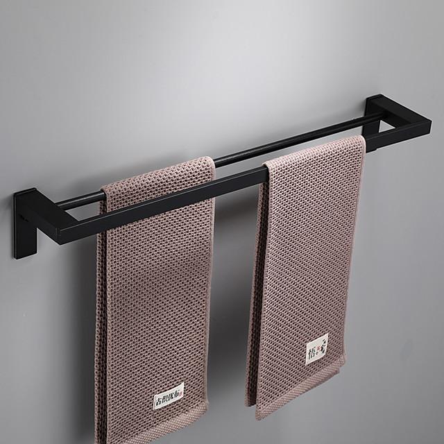 Towel Bar Contemporary Aluminum Material Bathroom Single / Double Rod Wall Mounted 1pc