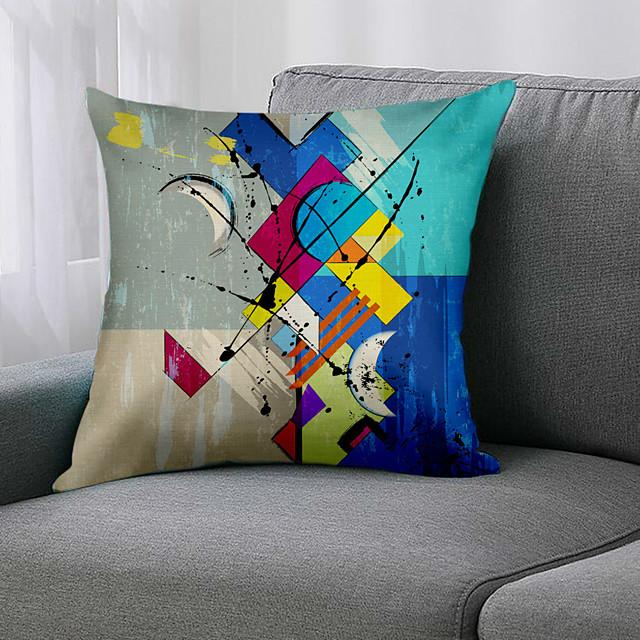 ضعف الجانب 1 قطعة غطاء وسادة هندسي طباعة 45x45 سم الكتان لغرفة نوم الأريكة
