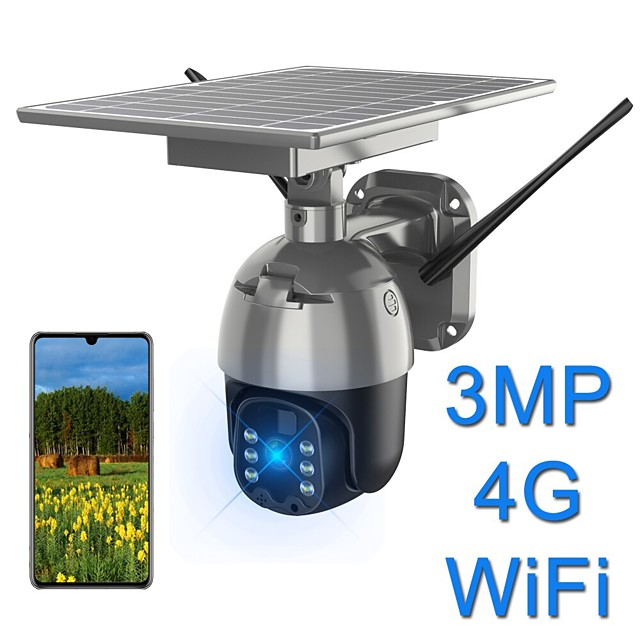 Solar wifi camera 2mp 1536p 1080p waterproof ptz camera outdoor 4g 3g lte wireless remote control color night vision