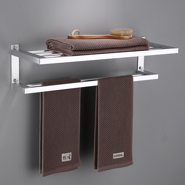 Bathroom Double-layer Space Aluminum Towel Rack Wall Mounted Perforated Installation Towel Rack 1pc