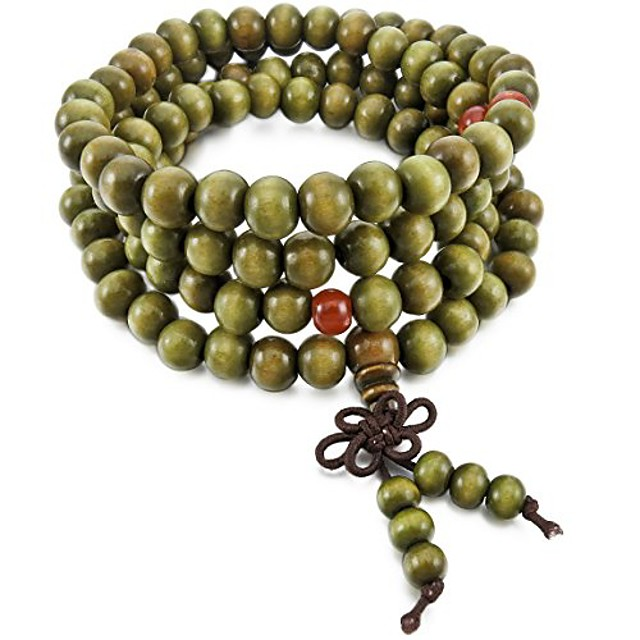 Men,Women's 8mm Wood Bracelet Link Wrist Necklace Chain Tibetan Buddhist Green Sandalwood Bead Prayer Buddha Mala Chinese Knot Elastic