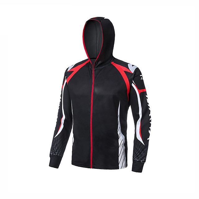 Men's Hoodie Jacket Skin Coat Outdoor UV Sun Protection UPF50+ Quick Dry Lightweight Jacket Spring Summer Athleisure Fishing Outdoor White+Red Black Yellow / Long Sleeve / Stretchy / Breathable
