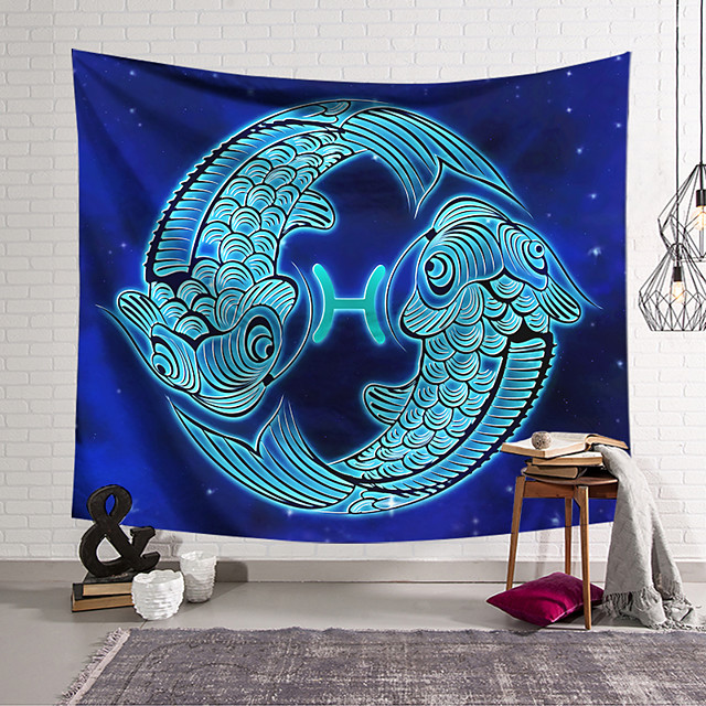 Wall Tapestry Art Decor Blanket Curtain Hanging Home Bedroom Living Room Color blue Polyester Fish