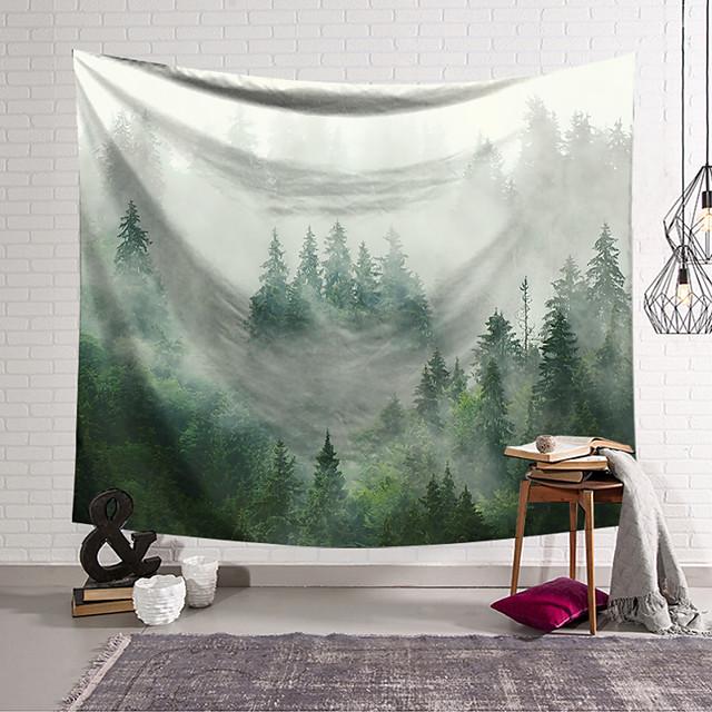 естественные пейзажи стены гобелены художественный декор одеяло занавеска висит дома спальня гостиная украшения полиэстер зеленый лес туман