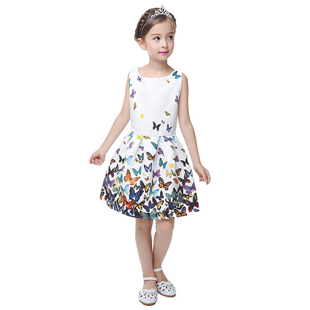 Vestido de las Niñas Causal Floral Princesa Fiesta Mariposa Impresión Blanca Sin Mangas Vestidos dulces de Verano de 5-12 Años
