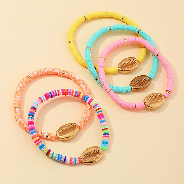 Women's Bead Bracelet Bracelet Beads Heart Stylish Sweet Boho Alloy Bracelet Jewelry Rainbow For Date Beach