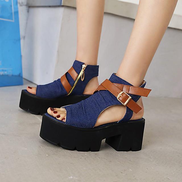 Women's Sandals Platform Open Toe Denim PU Color Block Black Dark Blue Light Blue