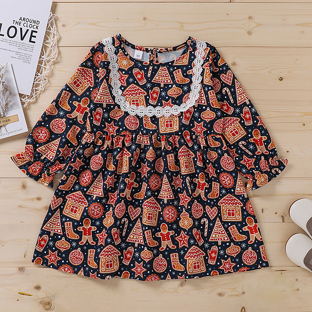 Kids Toddler Little Girls' Dress Graphic Print Red Long Sleeve Active Dresses Christmas Summer Regular Fit 2-6 Years