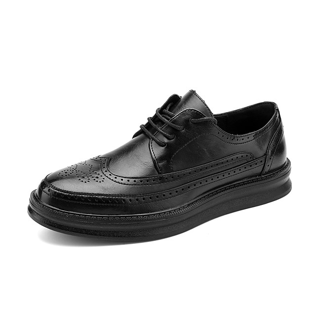 Men's Oxfords Business Classic Daily Office & Career Faux Leather Breathable Non-slipping Wear Proof White Black Spring Summer