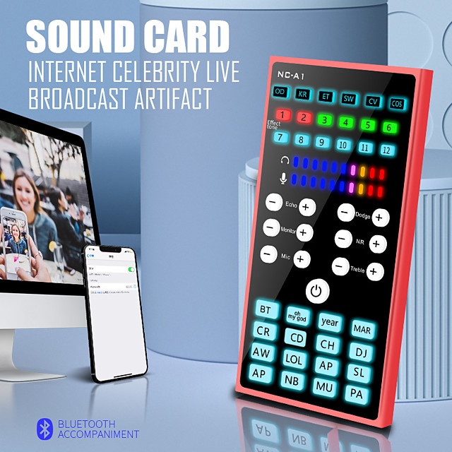 A1 Sound Card Bluetooth E300 Condenser Microphone Karaoke Mixer Audio Live Broadcast K Song Recording DSP for Phone & Computer