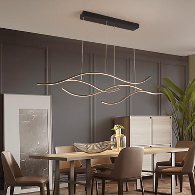 100/120 cm led pingente de onda de luz design lustre de ouro preto metal estilo artístico estilo moderno acabamento pintado com estilo artístico led 110-120v 220-240v