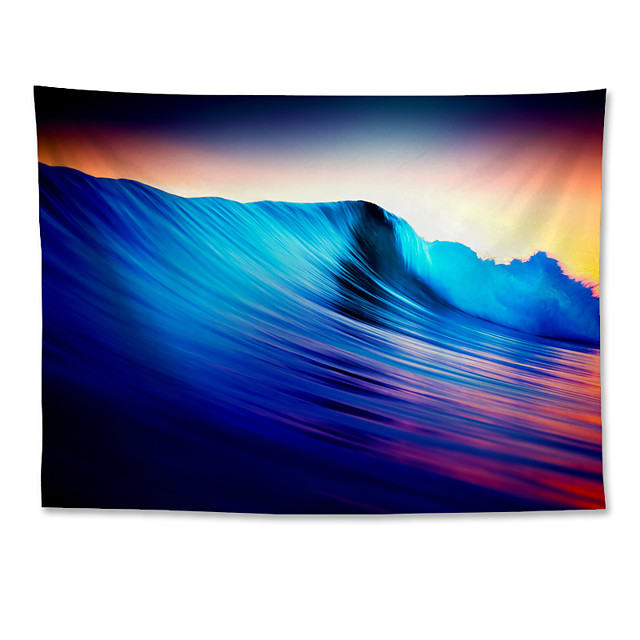 Wall Tapestry Art Decor Blanket Curtain Hanging Home Bedroom Living Room Colourful Polyester Waves Sea Landscape