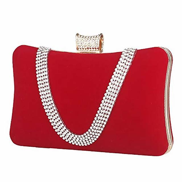 luxury evening bag womens clutch diamonds suede handbag shoulder for wedding purse bridal prom party banquet (red)