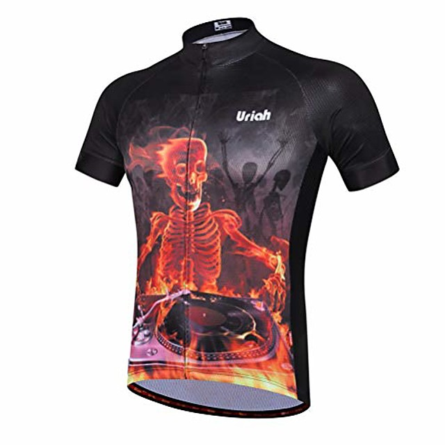 men's cycling jersey short sleeve reflective with rear zippered bag skull party size m