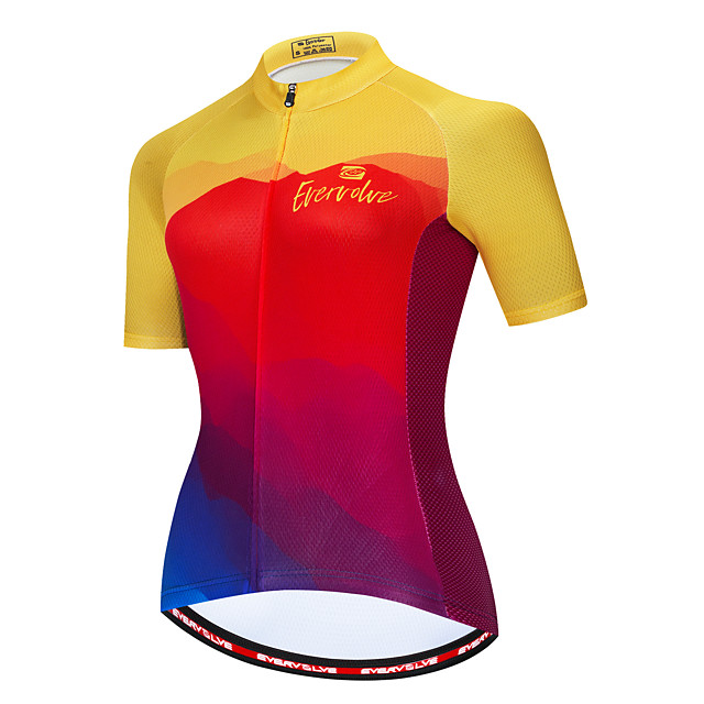 Femme Manches Courtes Maillot Velo Cyclisme Eté Rouge / jaune. Bleu + jaune. Rose à imprimé arc-en-ciel Cyclisme Maillot Respirable Poche arrière Des sports Vêtement Tenue / Micro-élastique