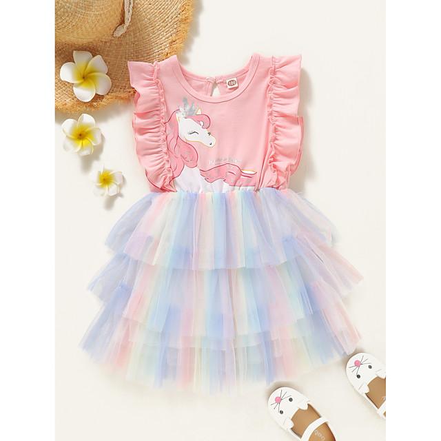 Дети Дети (1-4 лет) Маленький Девочки Платье Радужный Розовый Без рукавов Активный Платья Лето Стандартный 2-6 года