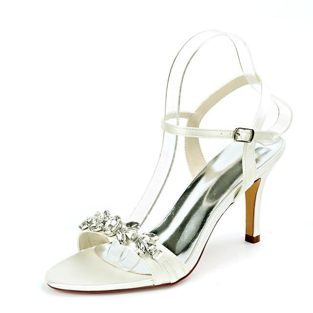 Women's Wedding Shoes Stiletto Heel Open Toe Wedding Sandals Satin Rhinestone Solid Colored White Black Purple