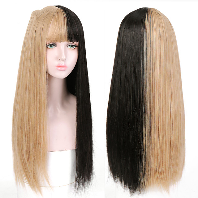 Long Straight Black to Blonde Ombre Wigs with Bangs for Girls Heat Resistant Synthetic Fashion Cosplsy Party Wigs