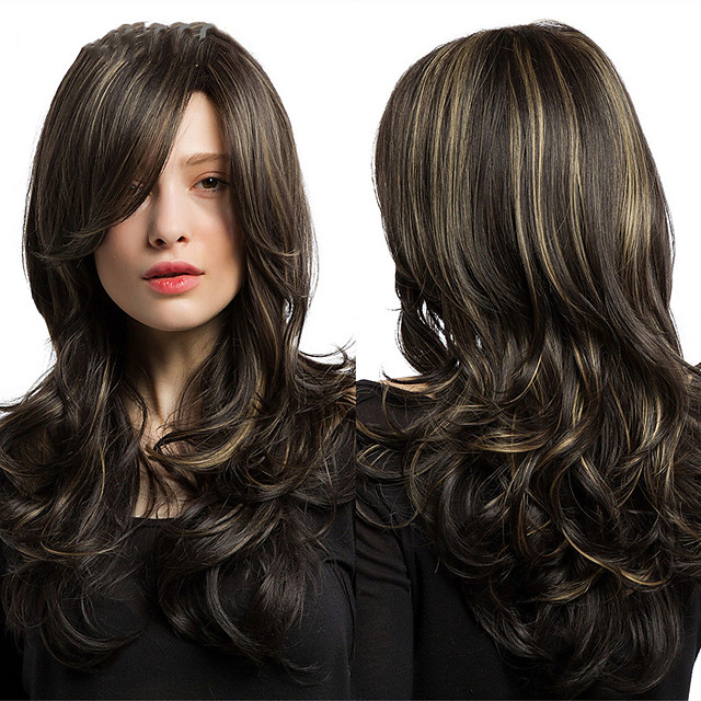 Element Heat Resistant Fiber Long Wavy Wigs with Side Bangs Synthetic Brown Mix Blonde Wigs for White/Black Women