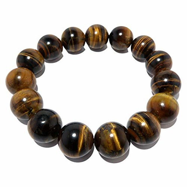 satincrystals tigers eye golden bracelet 13mm boutique golden brown shiny round handmade stretch chunky b02 (6.5
