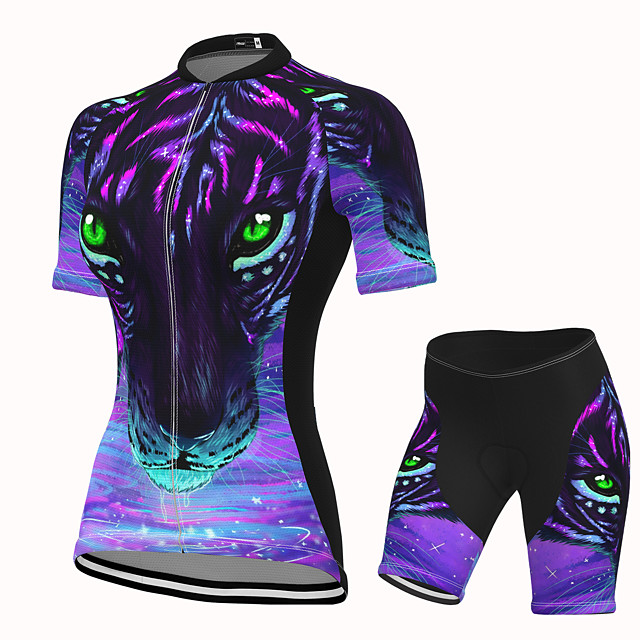 Women's Short Sleeve Cycling Jersey with Shorts Spandex Purple Leopard Bike Breathable Quick Dry Sports Graphic Mountain Bike MTB Road Bike Cycling Clothing Apparel / Stretchy / Athletic / Athleisure